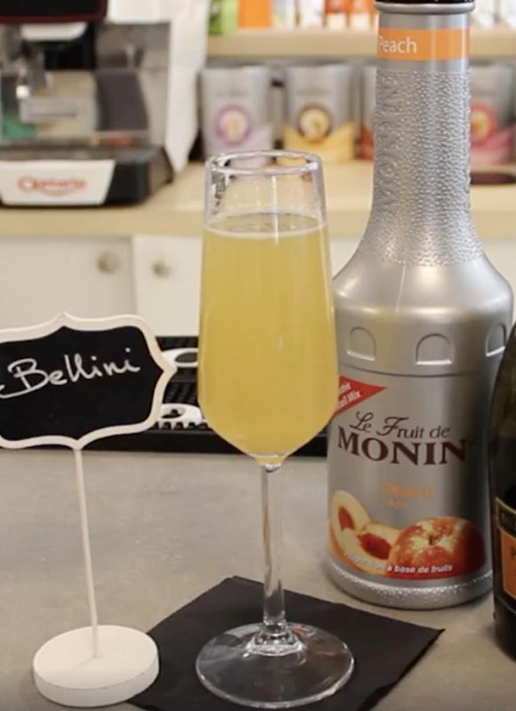 Monin peach belini cocktail recipe