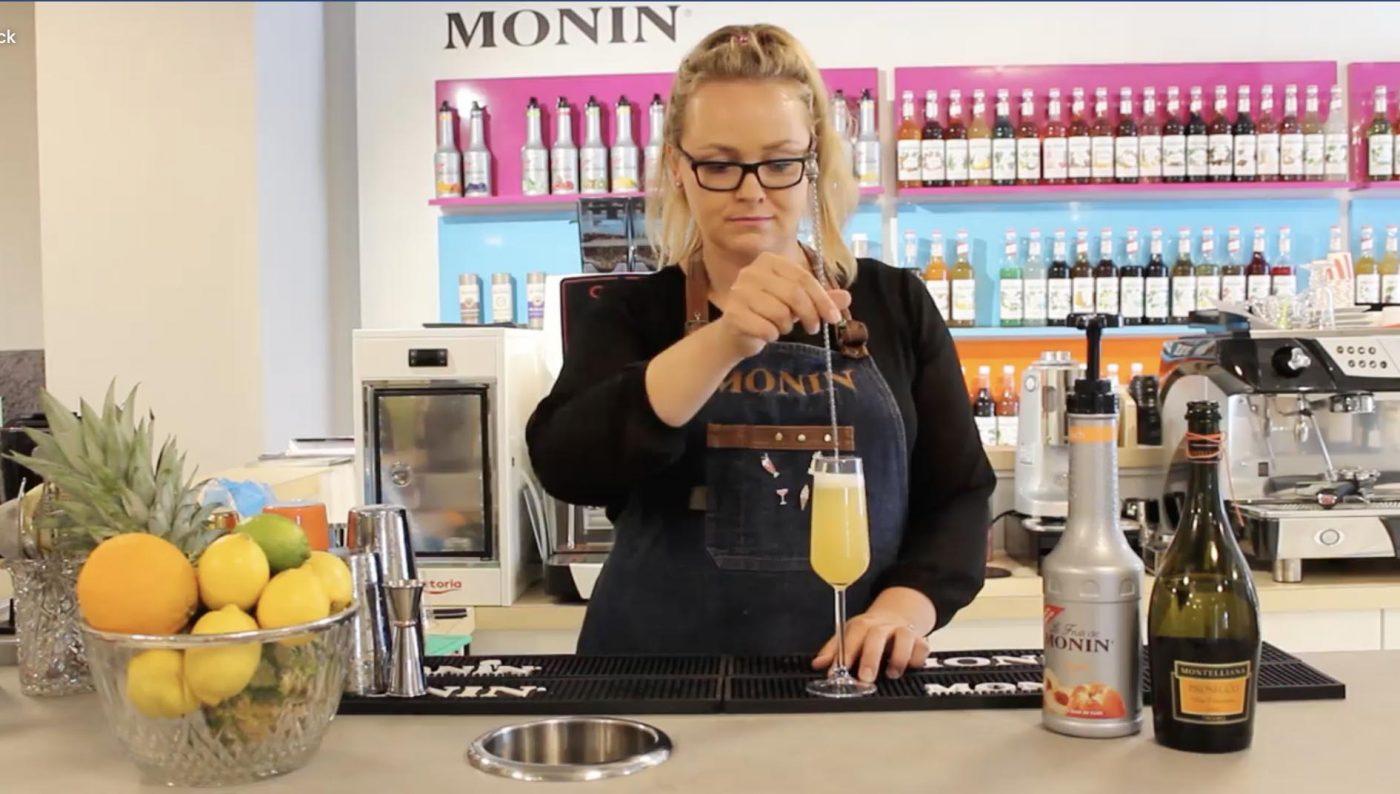 Monin peach belini cocktail recipe cover